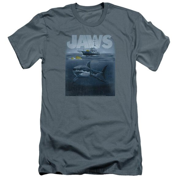 Jaws Silhouette Premuim Canvas Adult Slim Fit