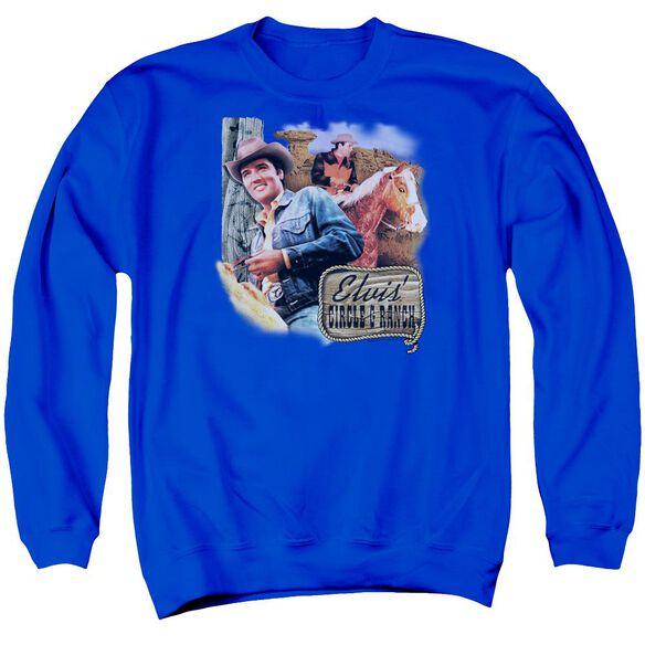 Elvis Ranch Adult Crewneck Sweatshirt Royal