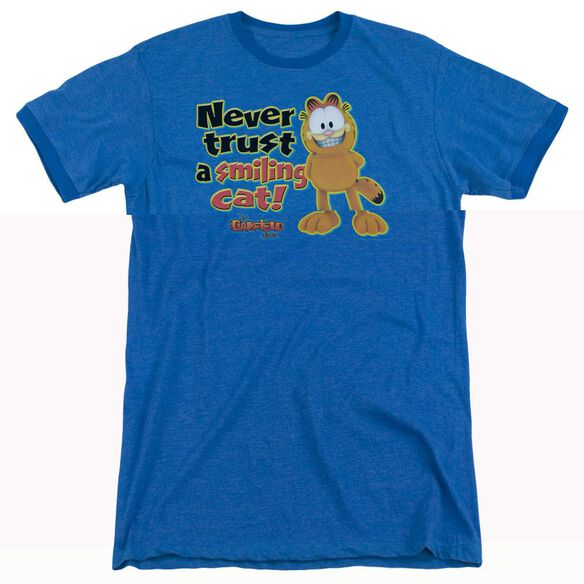 Garfield Smiling - Adult Heather Ringer - Royal Blue