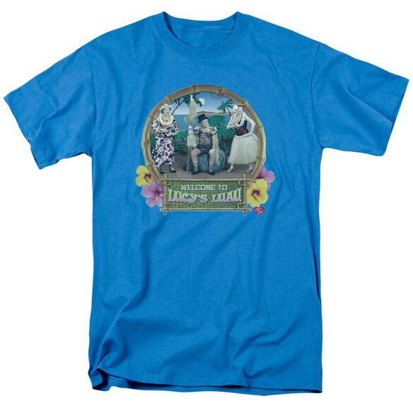 I Love Lucy Lucy's Luau Short Sleeve Adult Turquoise T-Shirt
