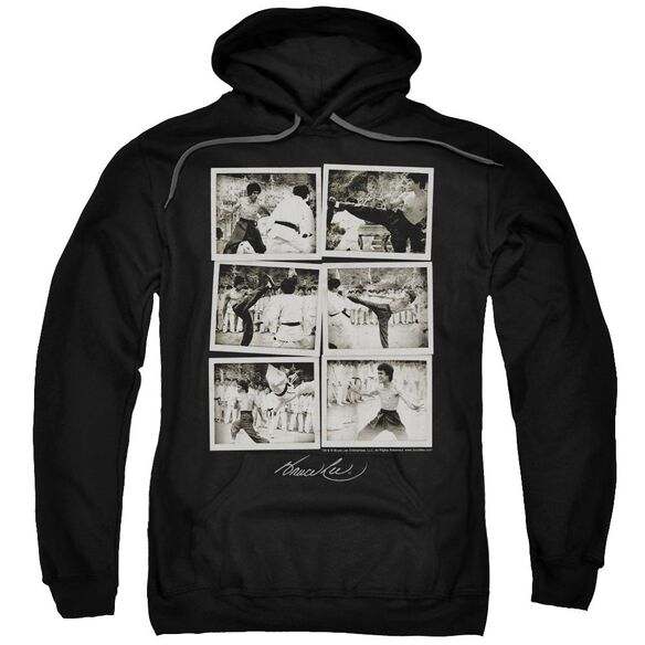Bruce Lee Snap Shots Adult Pull Over Hoodie Black