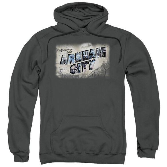 Arkham City Greetings From Arkham Adult Pull Over Hoodie