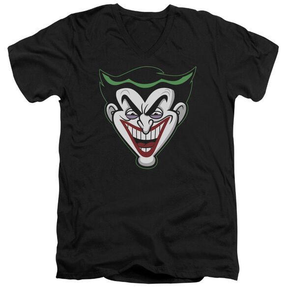 Batman Bb Animated Joker Head Short Sleeve Adult V Neck T-Shirt