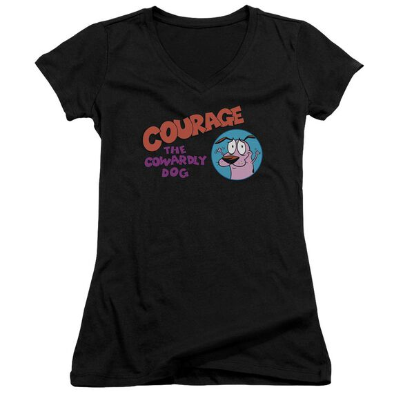 Courage The Cowardly Dog Courage Logo Junior V Neck T-Shirt