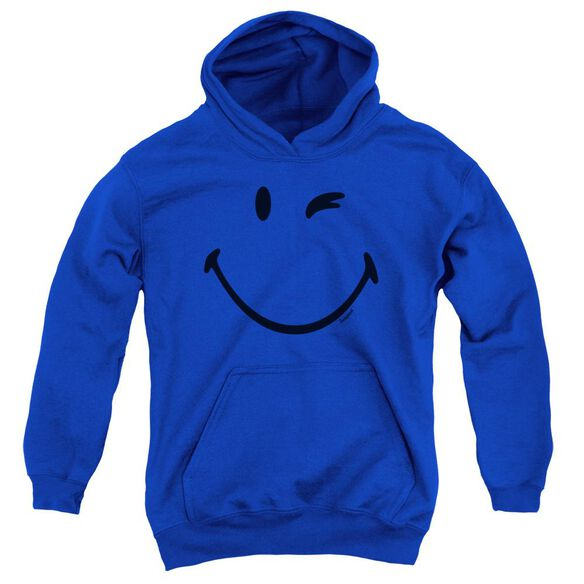Smiley World Big Wink Youth Pull Over Hoodie Royal