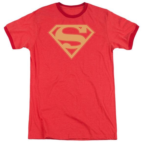 Superman Red & Gold Shield Adult Heather Ringer Red