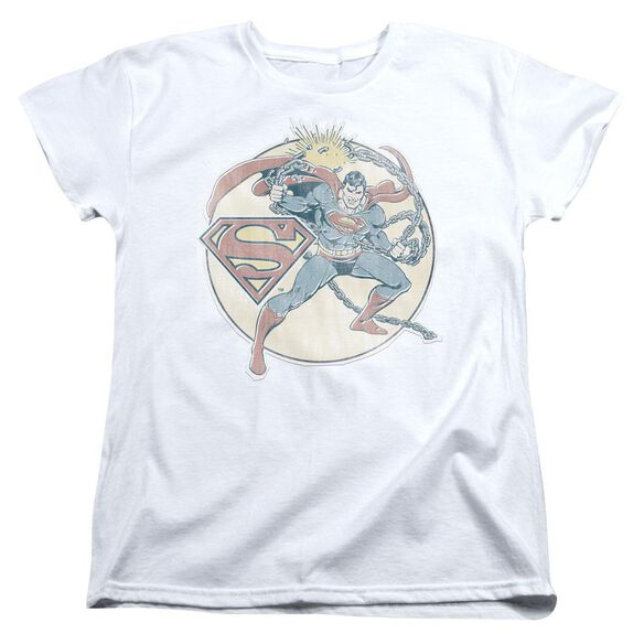 Dco Retro Superman Iron On Short Sleeve Womens Tee T-Shirt