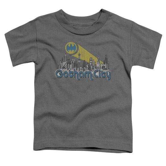 Batman Gotham City Distressed Short Sleeve Toddler Tee Charcoal Lg T-Shirt