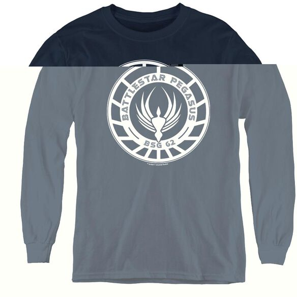 Bsg Pegasus Badge - Youth Long Sleeve Tee - Navy