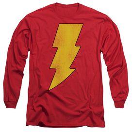 Dc Shazam Logo Distressed Long Sleeve Adult T-Shirt