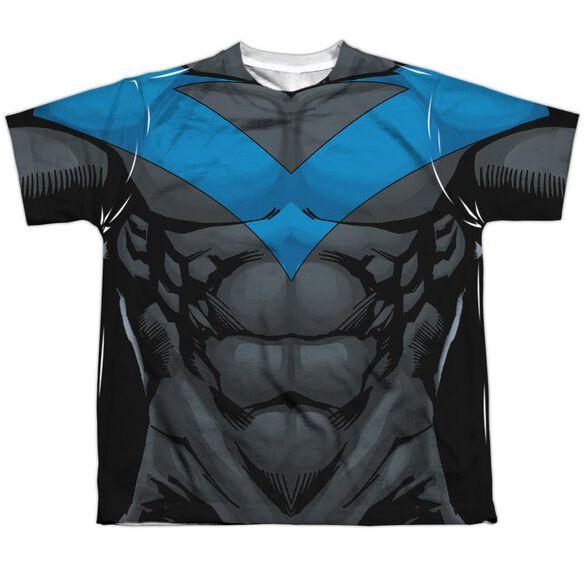 Batman Nightwing Blue Uniform Short Sleeve Youth Poly Crew T-Shirt