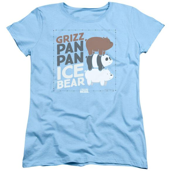We Bare Bears Grizz Pan Pan Ice Bear Short Sleeve Women's Tee Light T-Shirt
