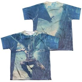 Batman Skyscrapers (Front Back Print) Short Sleeve Youth Poly Crew T-Shirt