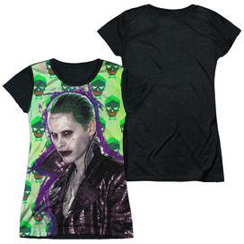 Suicide Squad Joker Jacket Skull Short Sleeve Junior Poly Black Back T-Shirt