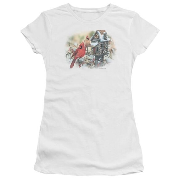 Wildlife Cardinals Rustic Retreat Short Sleeve Junior Sheer T-Shirt
