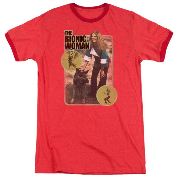 Bionic Woman Jamie And Max Adult Heather Ringer Red