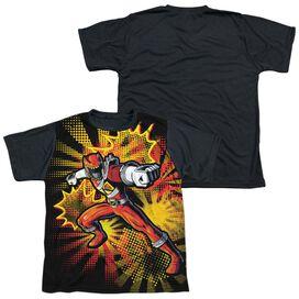 Power Rangers Red Ranger Burst Short Sleeve Youth Front Black Back T-Shirt