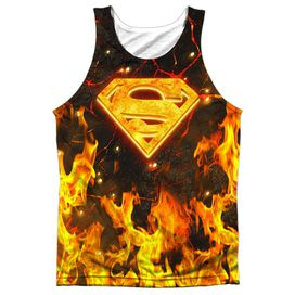 Superman Fire Logo Adult 100% Poly Tank Top