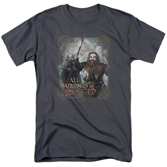 The Hobbit Wrongs Avenged Short Sleeve Adult Charcoal T-Shirt