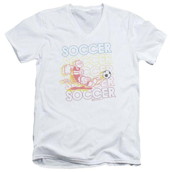 Popeye Soccer Short Sleeve Adult V Neck T-Shirt