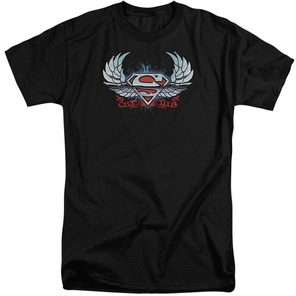 Superman Chrome Wings Shield Short Sleeve Adult Tall T-Shirt