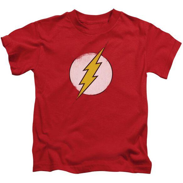 Dc Flash Rough Flash Logo Short Sleeve Juvenile Red T-Shirt