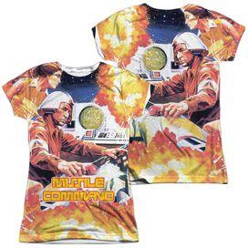 Atari Missle Commander (Front Back Print) Short Sleeve Junior Poly Crew T-Shirt