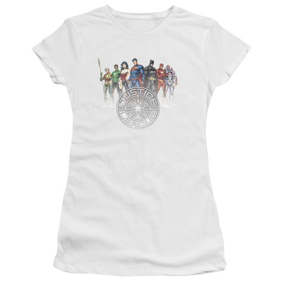 Jla Circle Crest Short Sleeve Junior Sheer T-Shirt