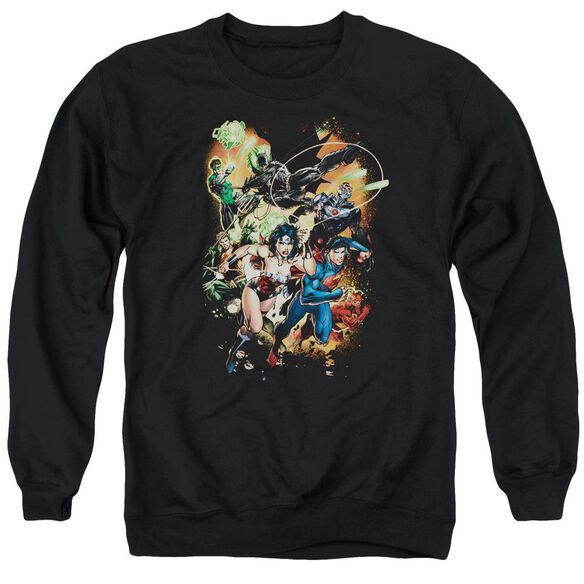 Jla Battle Ready Adult Crewneck Sweatshirt
