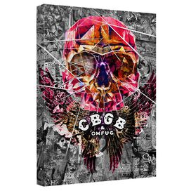 Cbgb Flying Skull Canvas Wall Art With Back Board