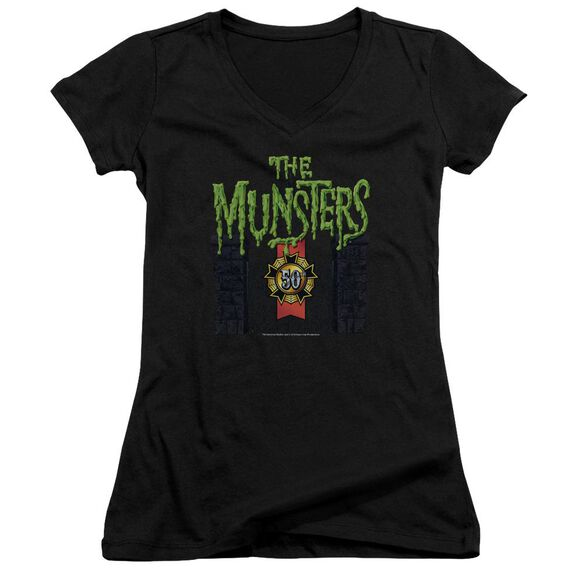 The Munsters 50 Year Logo Junior V Neck T-Shirt