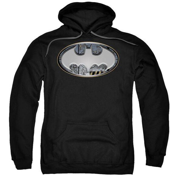 Batman Steel Wall Shield Adult Pull Over Hoodie Black