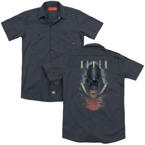 Alien Bloody Jaw(Back Print) Adult Work Shirt