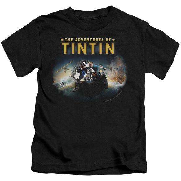 Tintin Journey Short Sleeve Juvenile Black T-Shirt