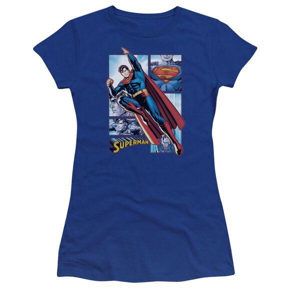Jla Superman Panels Premium Bella Junior Sheer Jersey Royal