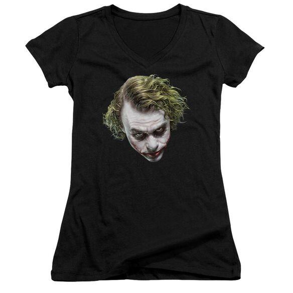 Dark Knight Painted Joker Head Junior V Neck T-Shirt