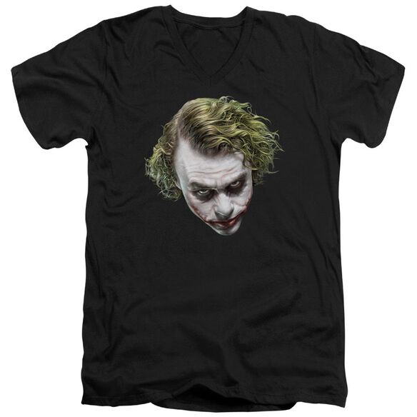 Dark Knight Painted Joker Head Short Sleeve Adult V Neck T-Shirt