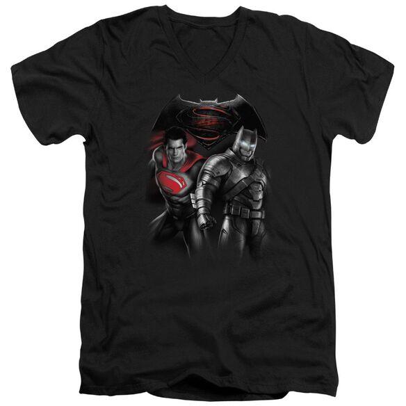 Batman V Superman Stand Off Short Sleeve Adult V Neck T-Shirt