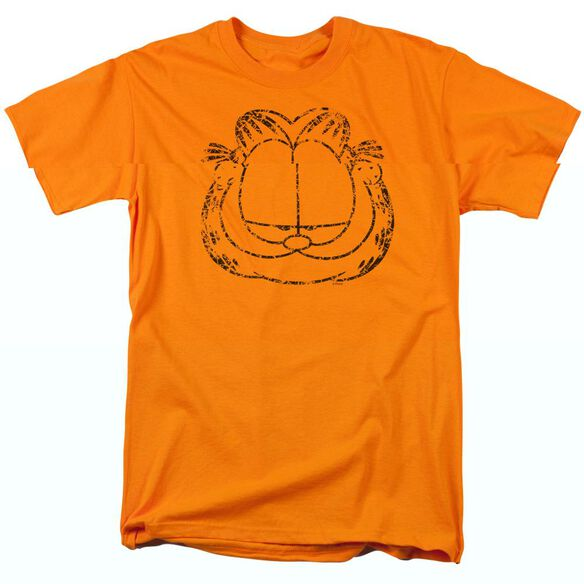 GARFIELD SMIRKING DISTRESSED-S/S ADULT 18/1 - ORANGE T-Shirt