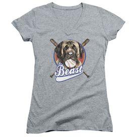 Sandlot The Beast Junior V Neck Athletic T Shirt Gray