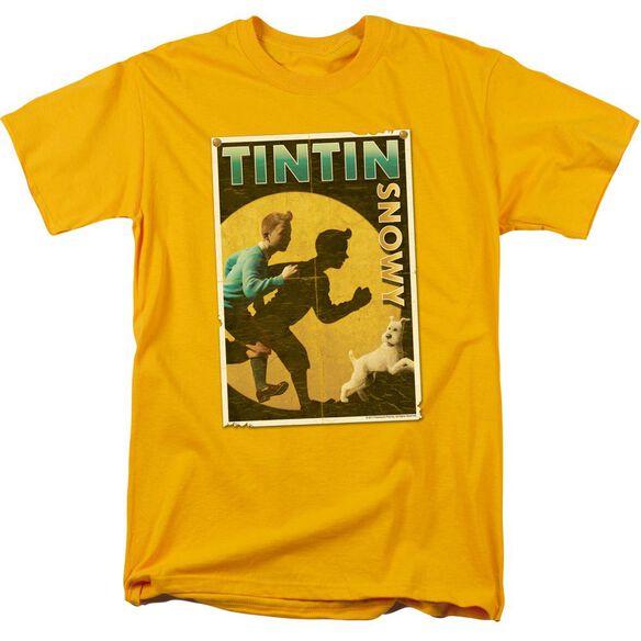 Tintin Tintin & Snowy Flyer Short Sleeve Adult Gold T-Shirt