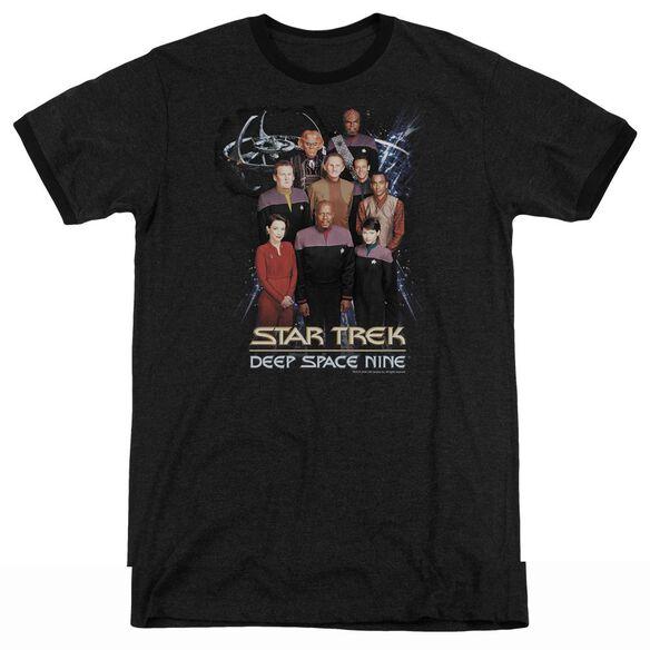 Star Trek Ds9 Crew - Adult Heather Ringer - Black