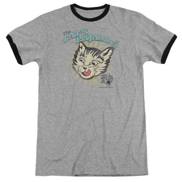 Puss N Boots Cats Pajamas - Adult Ringer - Heather/black