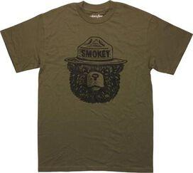 Smokey Bear Head Olive Green Mighty Fine T-Shirt