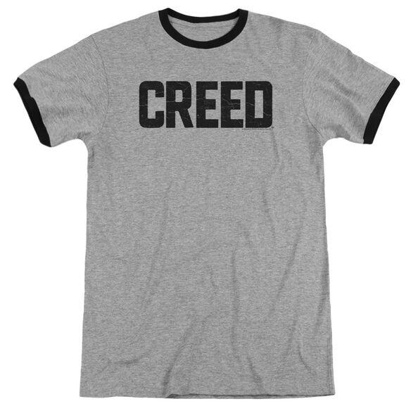 Creed Cracked Logo Adult Ringer Heather Black