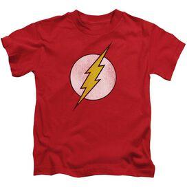 Dc Flash Flash Logo Distressed Short Sleeve Juvenile Red T-Shirt