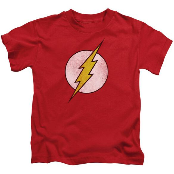Dc Flash Flash Logo Distressed Short Sleeve Juvenile Red T-Shirt