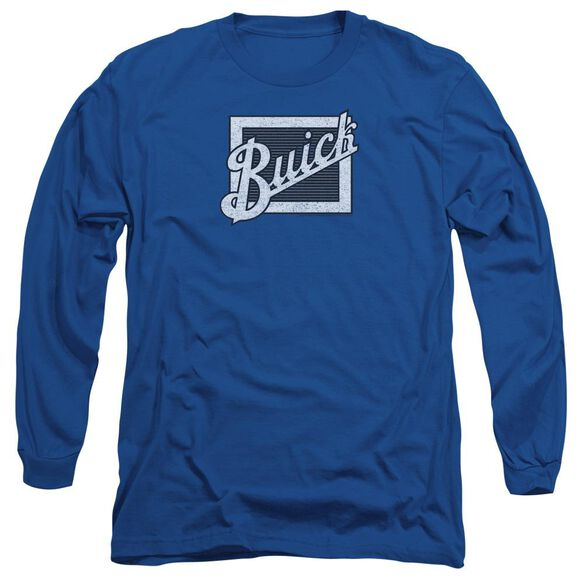 Buick Distressed Emblem Long Sleeve Adult Royal T-Shirt
