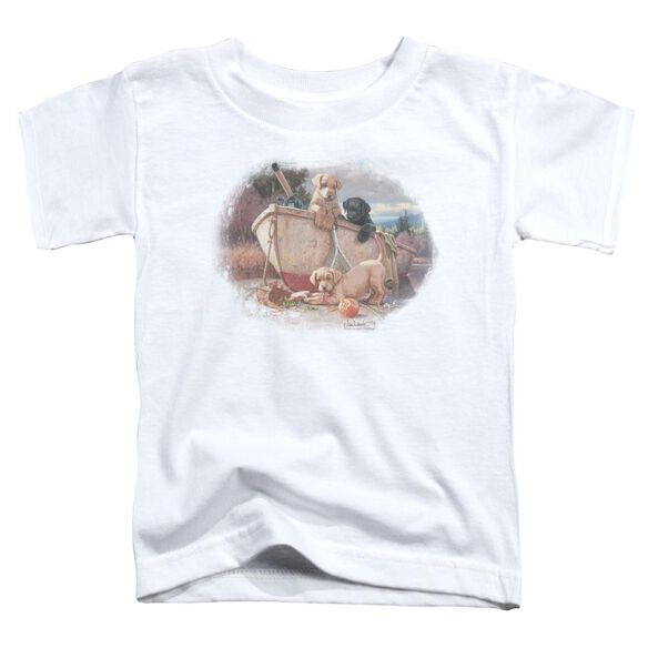 Wildlife Lunch Break Lab Pups Short Sleeve Toddler Tee White T-Shirt