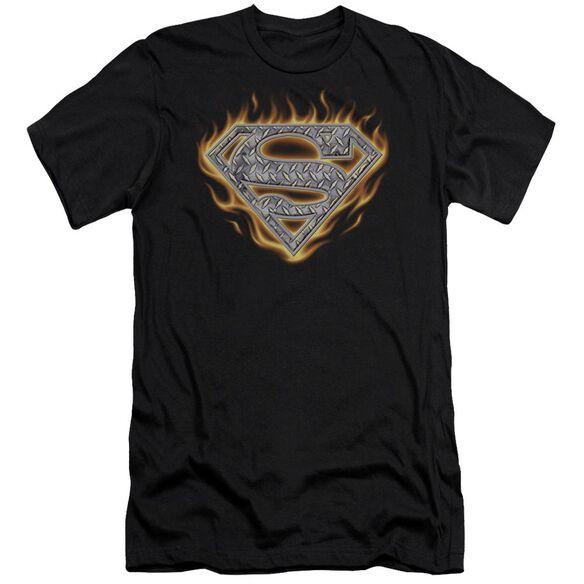 Superman Steel Fire Shield Short Sleeve Adult T-Shirt
